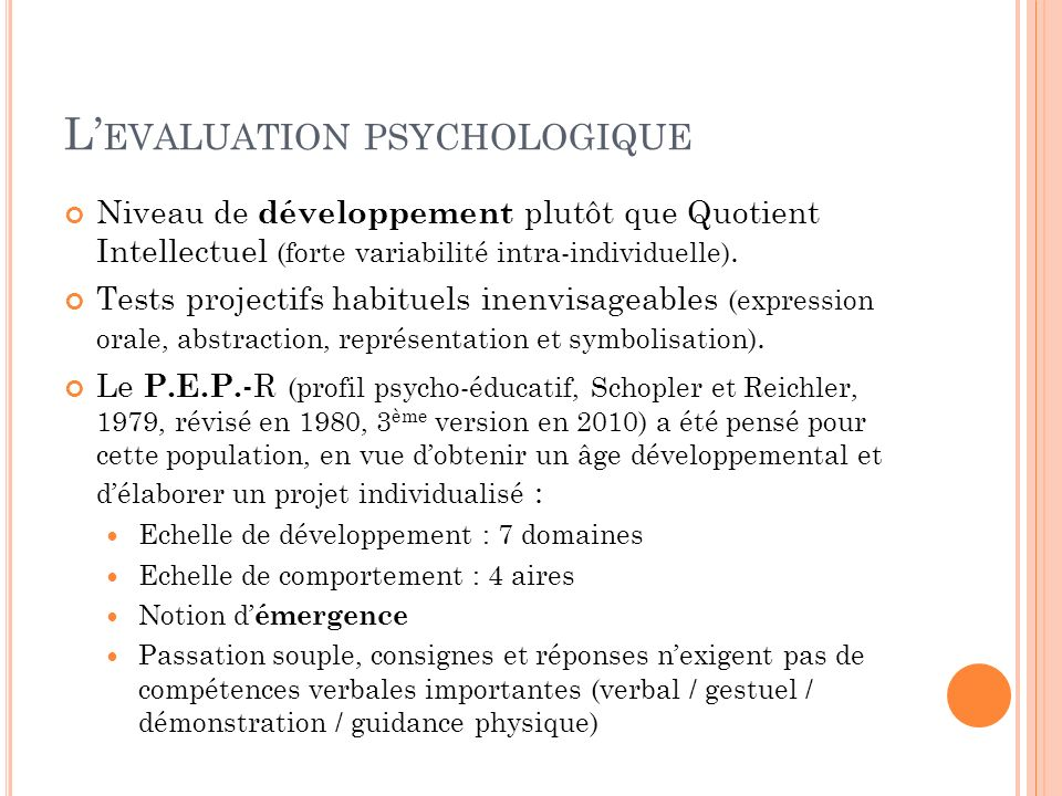 L'evaluation psychologique