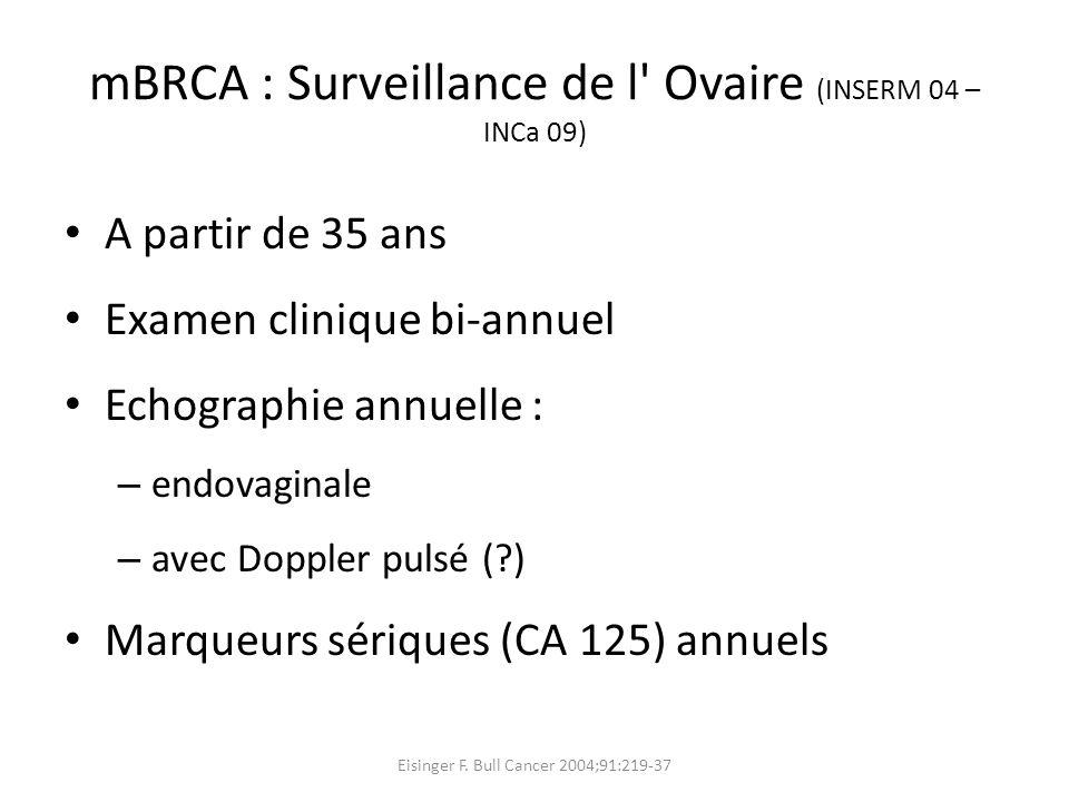mBRCA : Surveillance de l Ovaire (INSERM 04 – INCa 09)