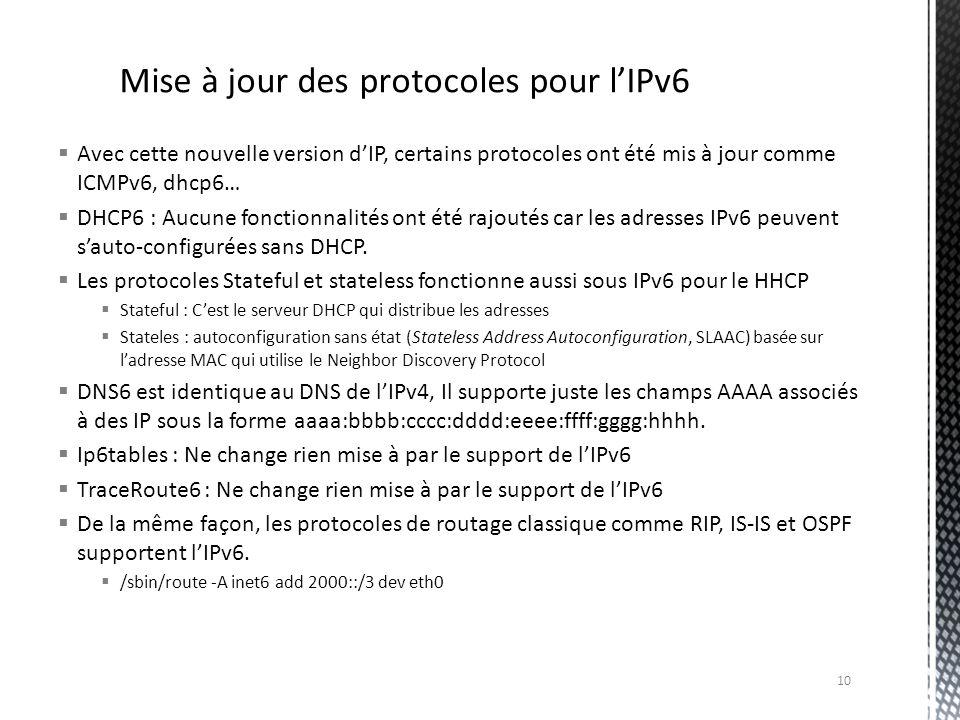 Mise à jour des protocoles pour l'IPv6
