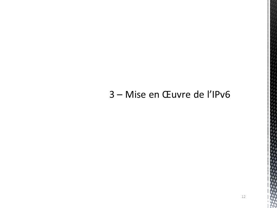 3 – Mise en Œuvre de l'IPv6