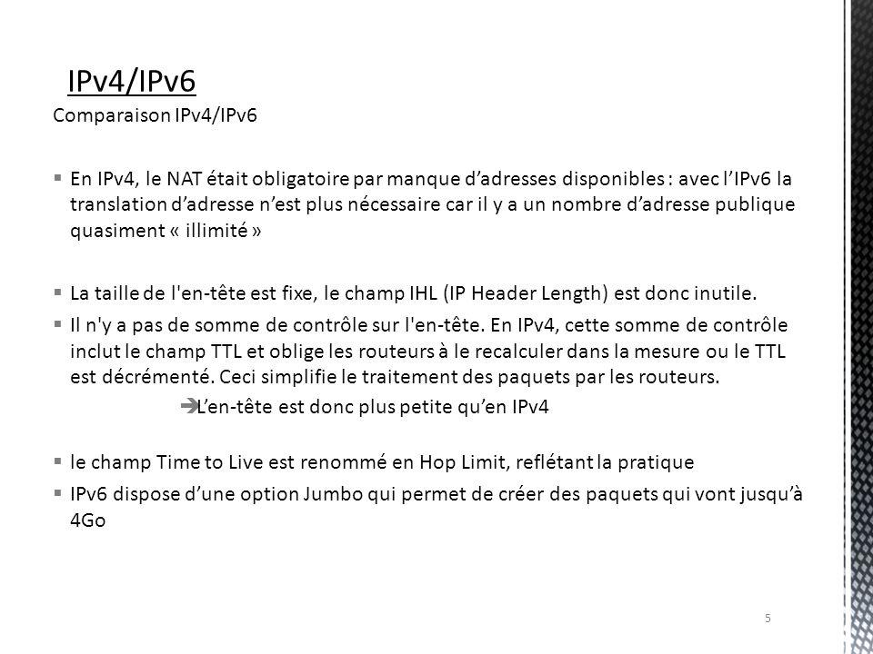 IPv4/IPv6 Comparaison IPv4/IPv6