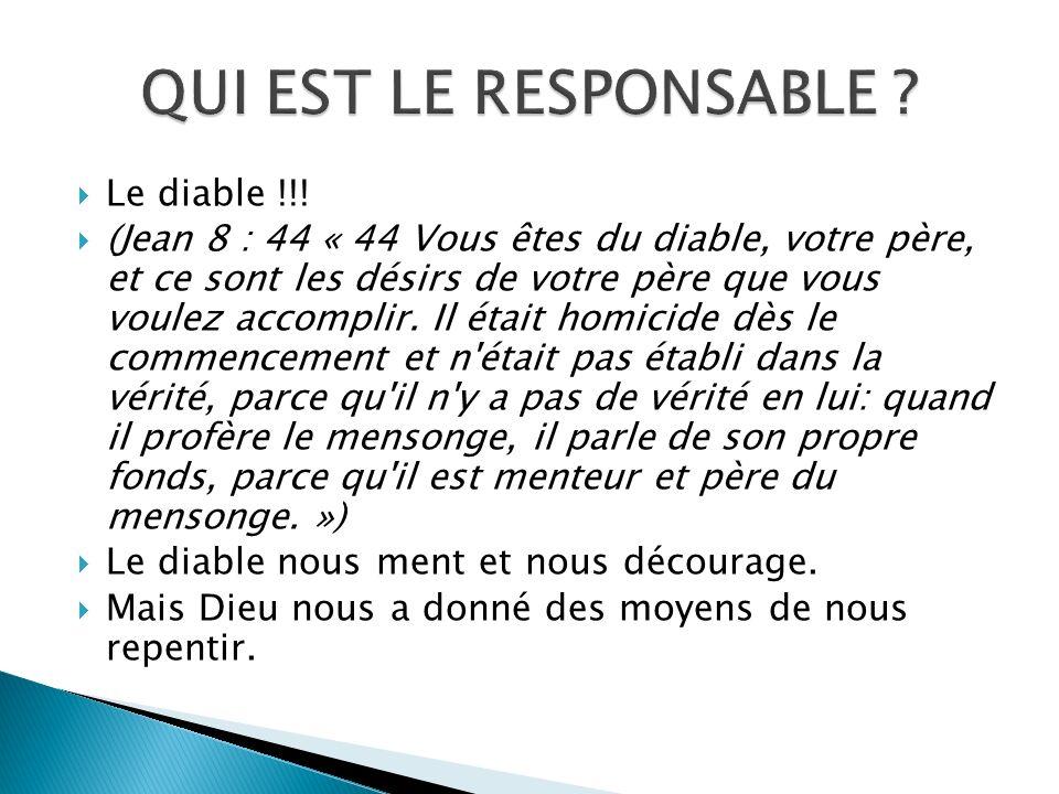 QUI EST LE RESPONSABLE Le diable !!!