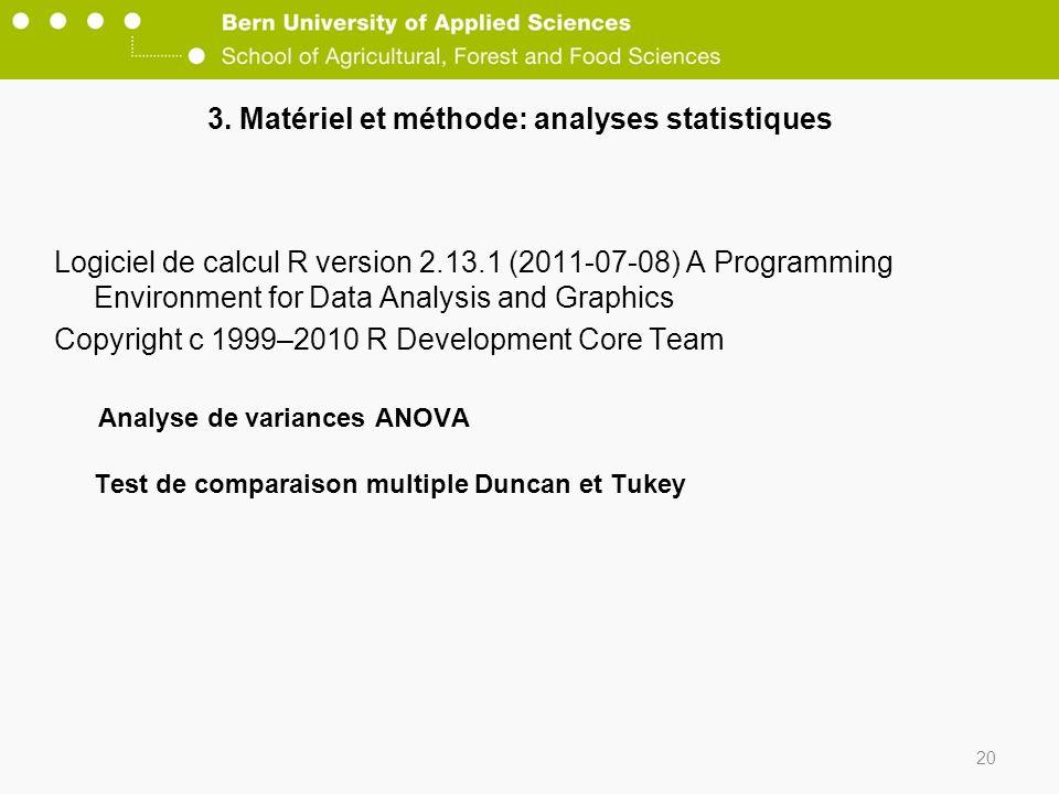3. Matériel et méthode: analyses statistiques