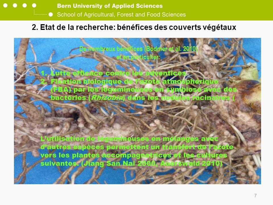 2. Etat de la recherche: bénéfices des couverts végétaux