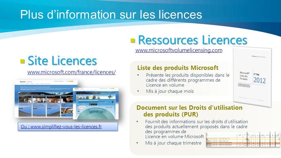 Plus d'information sur les licences