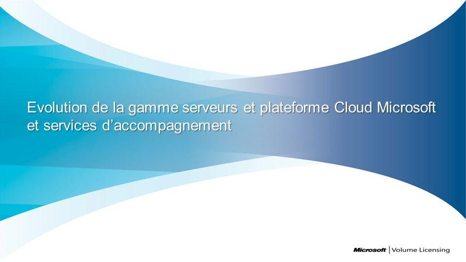 Evolution de la gamme serveurs et plateforme Cloud Microsoft et services d'accompagnement