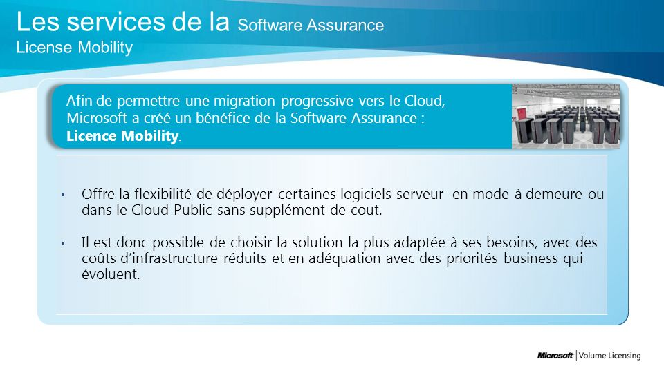 Les services de la Software Assurance License Mobility