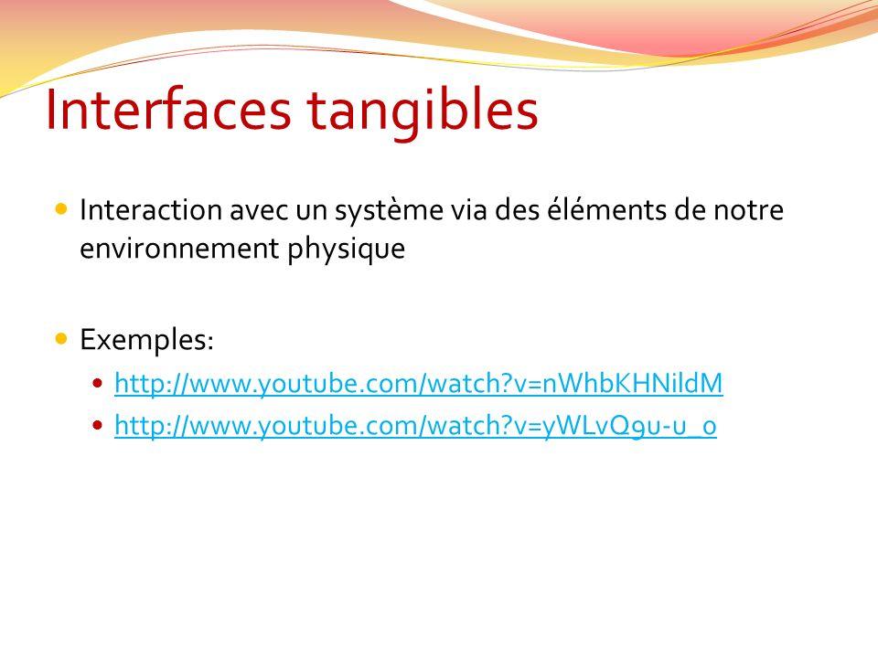 Interfaces tangibles Interaction avec un système via des éléments de notre environnement physique. Exemples: