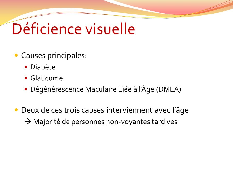 Déficience visuelle Causes principales: