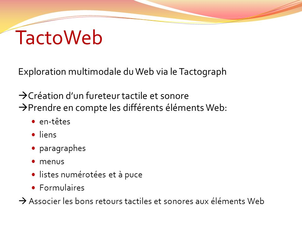 TactoWeb Exploration multimodale du Web via le Tactograph