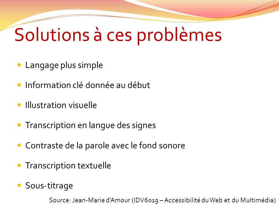 Solutions à ces problèmes
