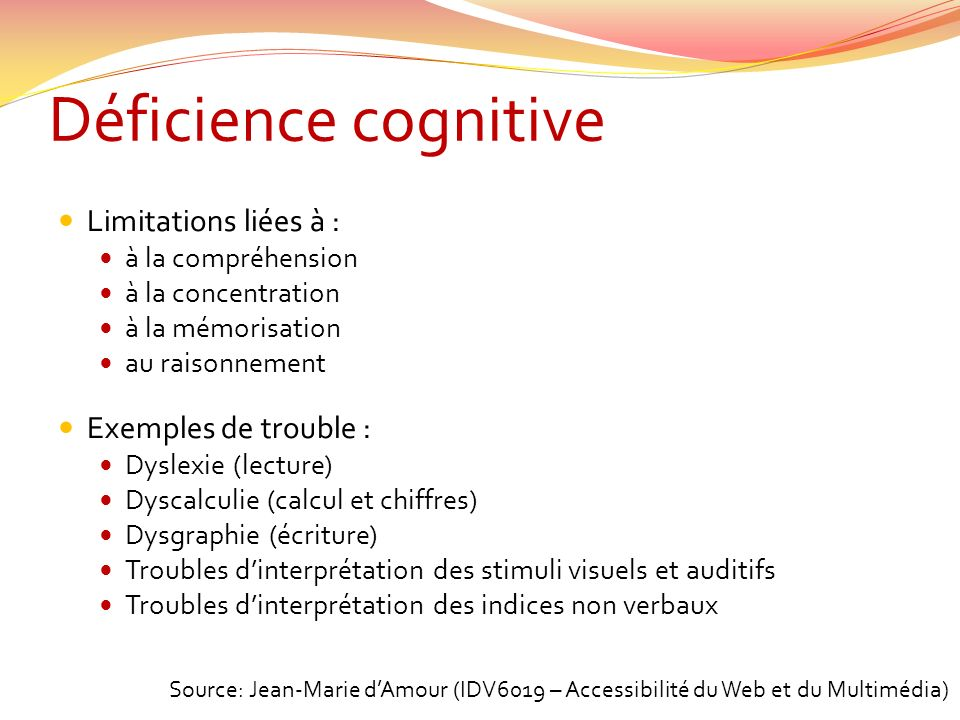 Déficience cognitive Limitations liées à : Exemples de trouble :