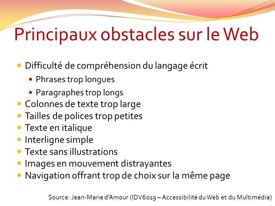 Principaux obstacles sur le Web