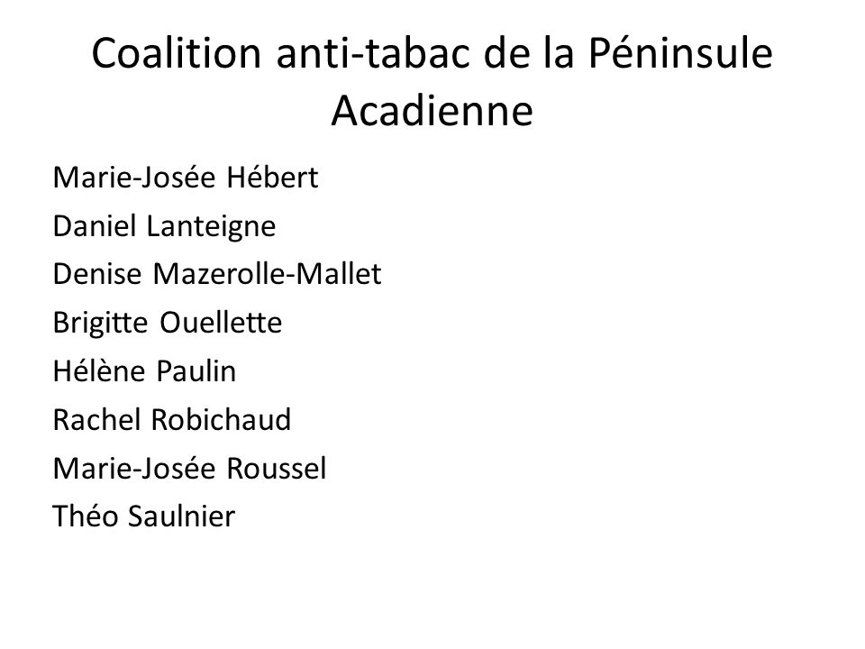 Coalition anti-tabac de la Péninsule Acadienne