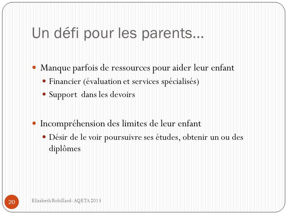 Un défi pour les parents…