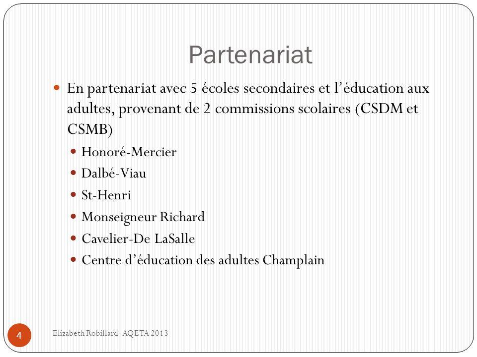 Partenariat En partenariat avec 5 écoles secondaires et l'éducation aux adultes, provenant de 2 commissions scolaires (CSDM et CSMB)