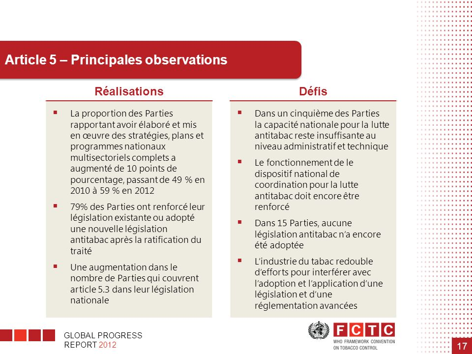 Article 5 – Principales observations