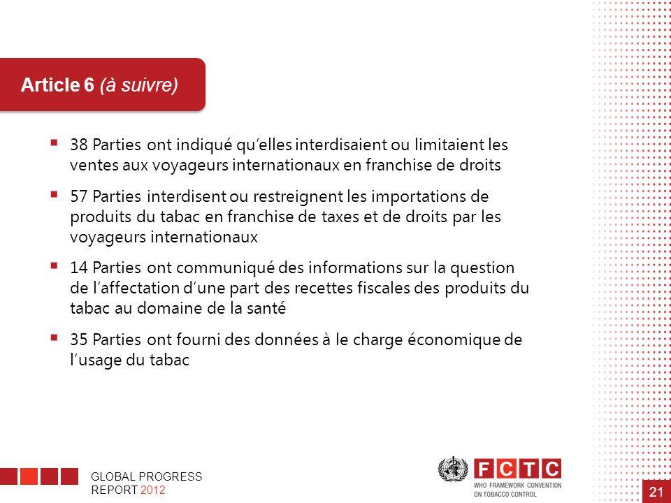 Article 6 (à suivre) 38 Parties ont indiqué qu'elles interdisaient ou limitaient les ventes aux voyageurs internationaux en franchise de droits.