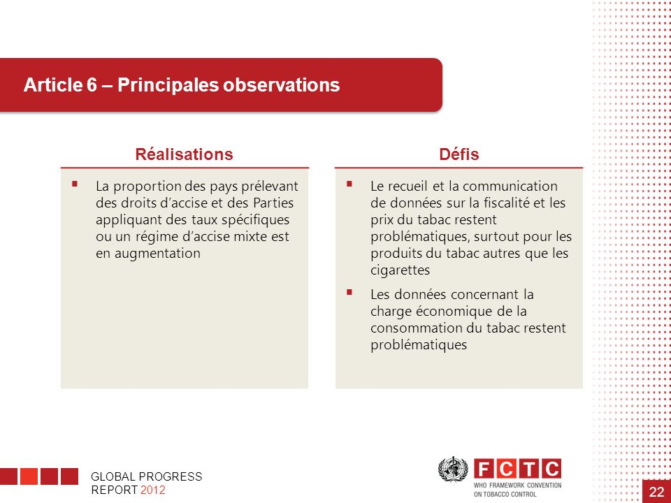 Article 6 – Principales observations