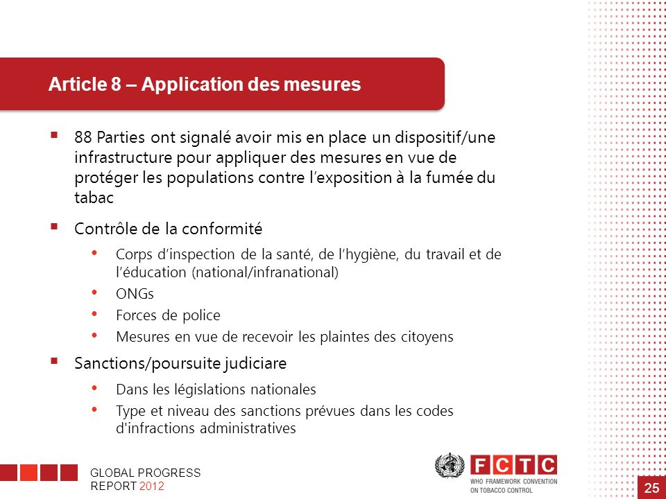 Article 8 – Application des mesures