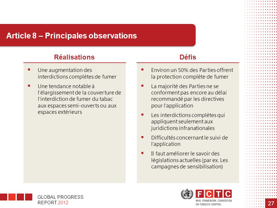 Article 8 – Principales observations