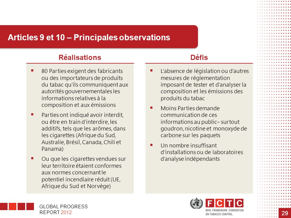 Articles 9 et 10 – Principales observations