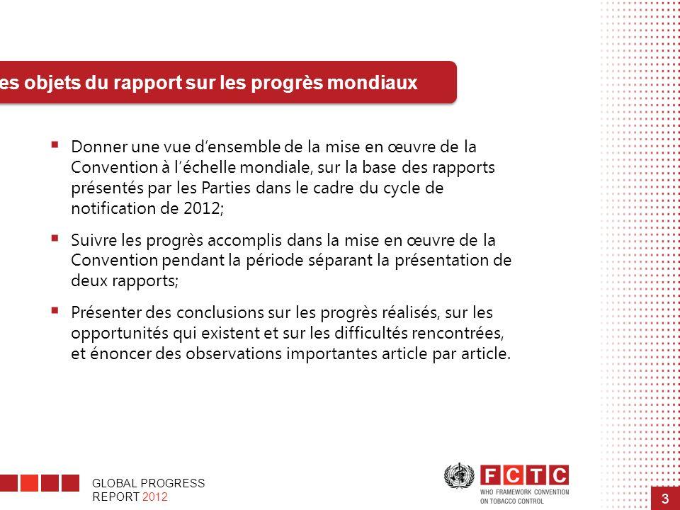 Les objets du rapport sur les progrès mondiaux