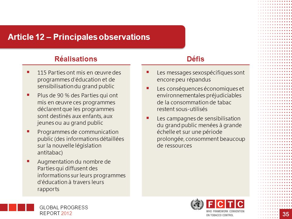 Article 12 – Principales observations