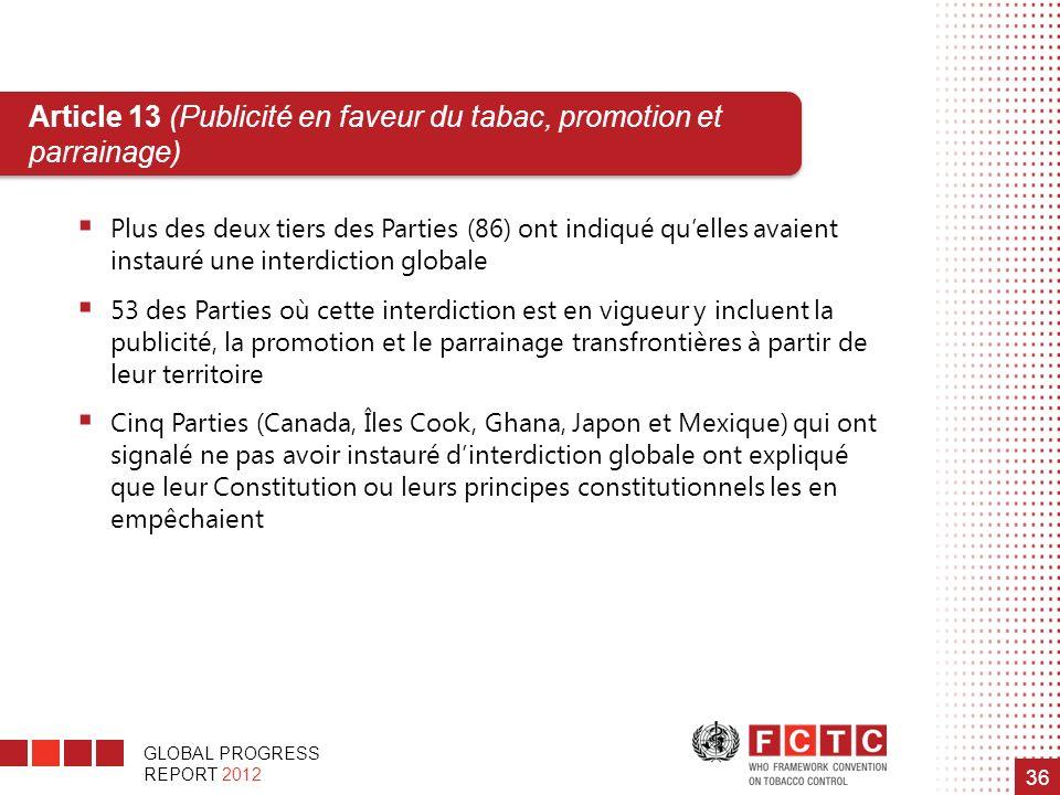 Article 13 (Publicité en faveur du tabac, promotion et parrainage)