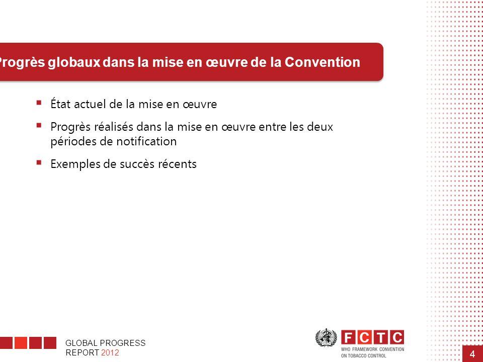 Progrès globaux dans la mise en œuvre de la Convention
