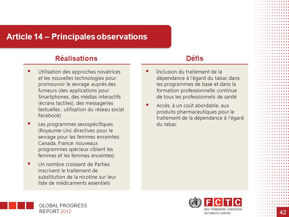 Article 14 – Principales observations