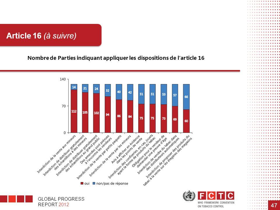 Nombre de Parties indiquant appliquer les dispositions de l'article 16