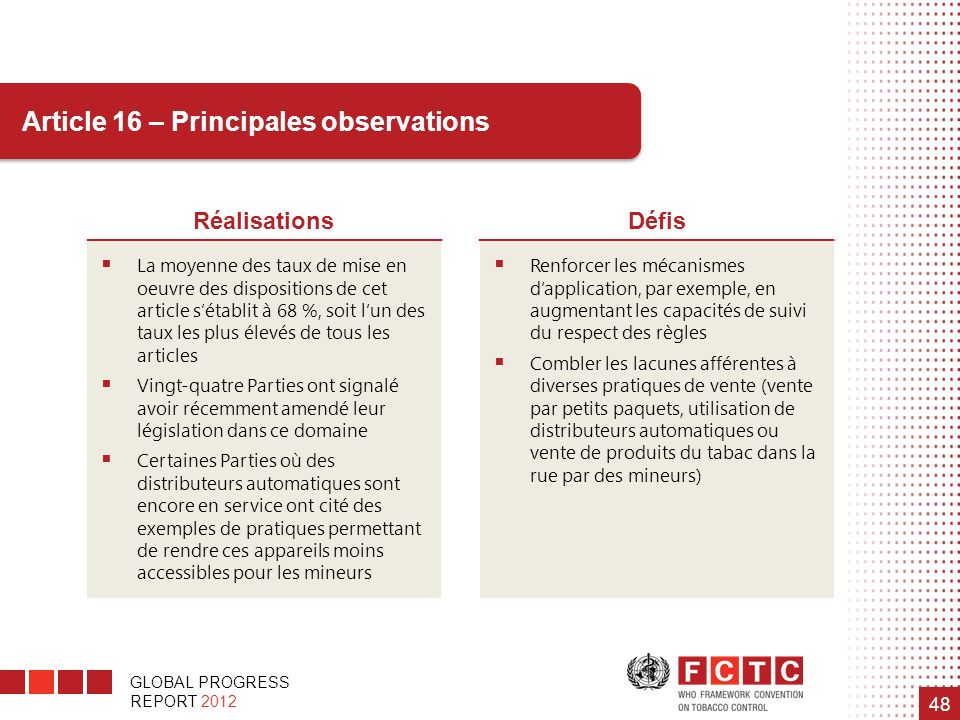 Article 16 – Principales observations