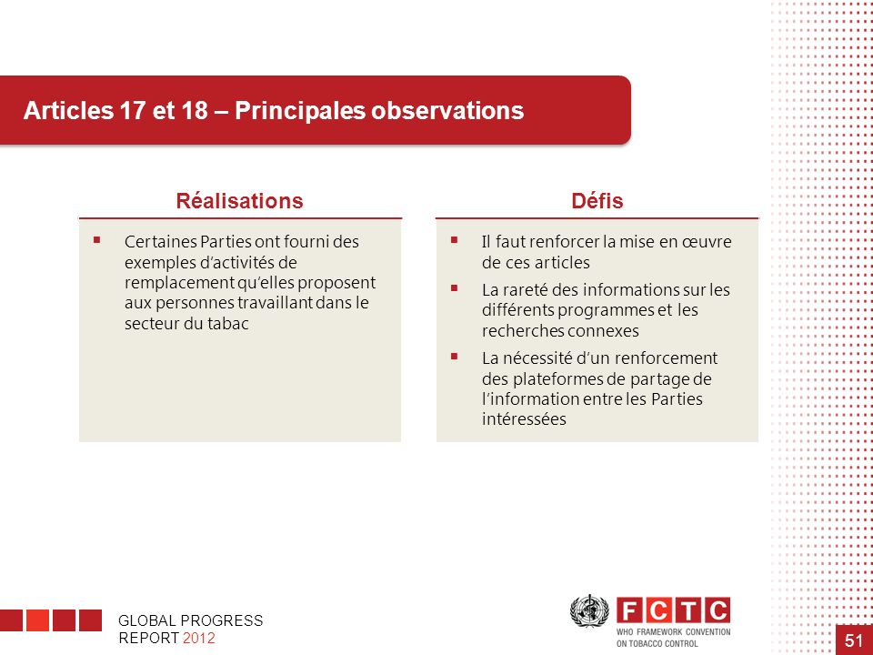 Articles 17 et 18 – Principales observations