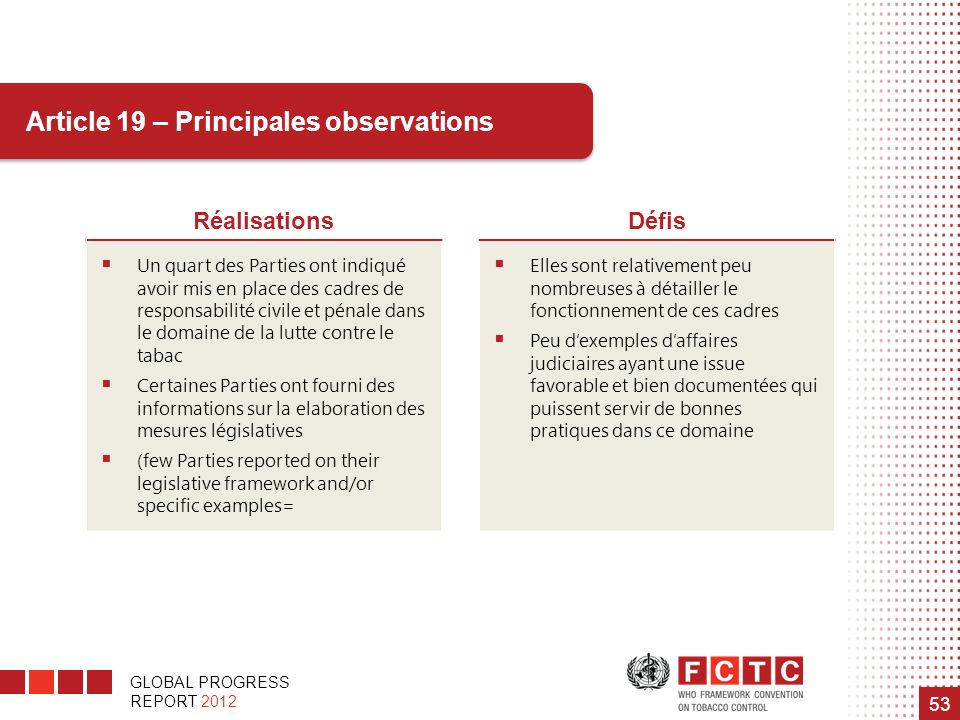 Article 19 – Principales observations
