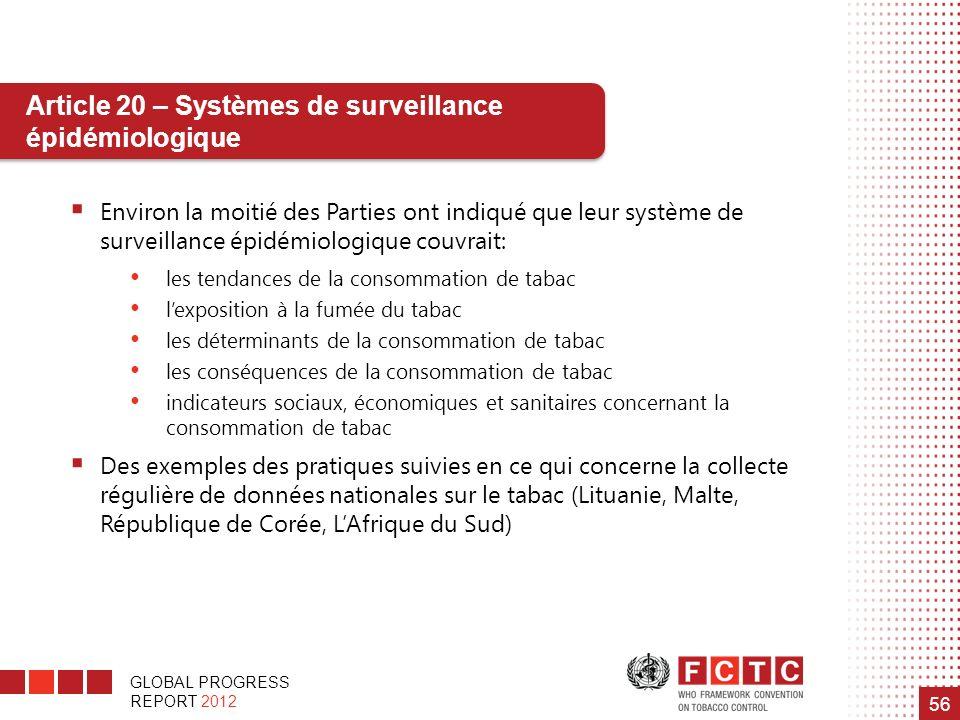 Article 20 – Systèmes de surveillance épidémiologique