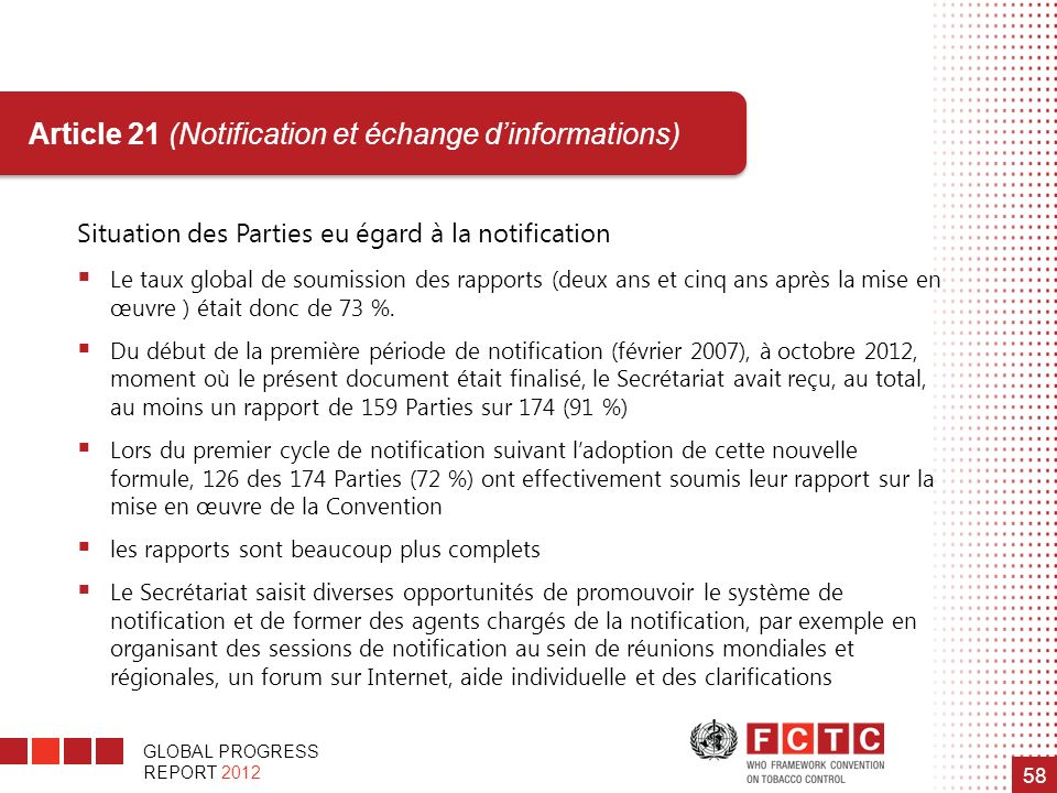 Article 21 (Notification et échange d'informations)