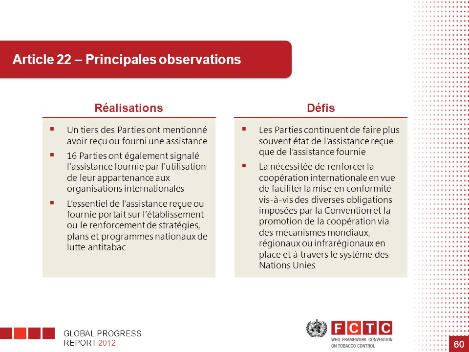 Article 22 – Principales observations