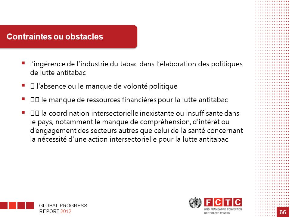 Contraintes ou obstacles