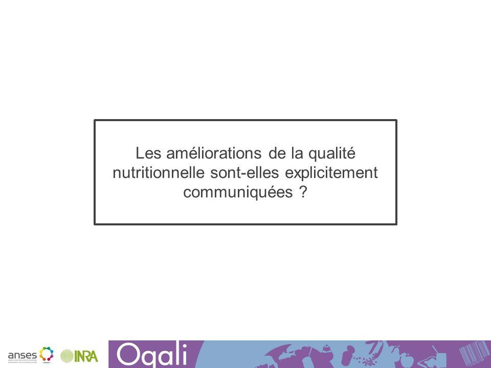 Les améliorations de la qualité nutritionnelle sont-elles explicitement communiquées