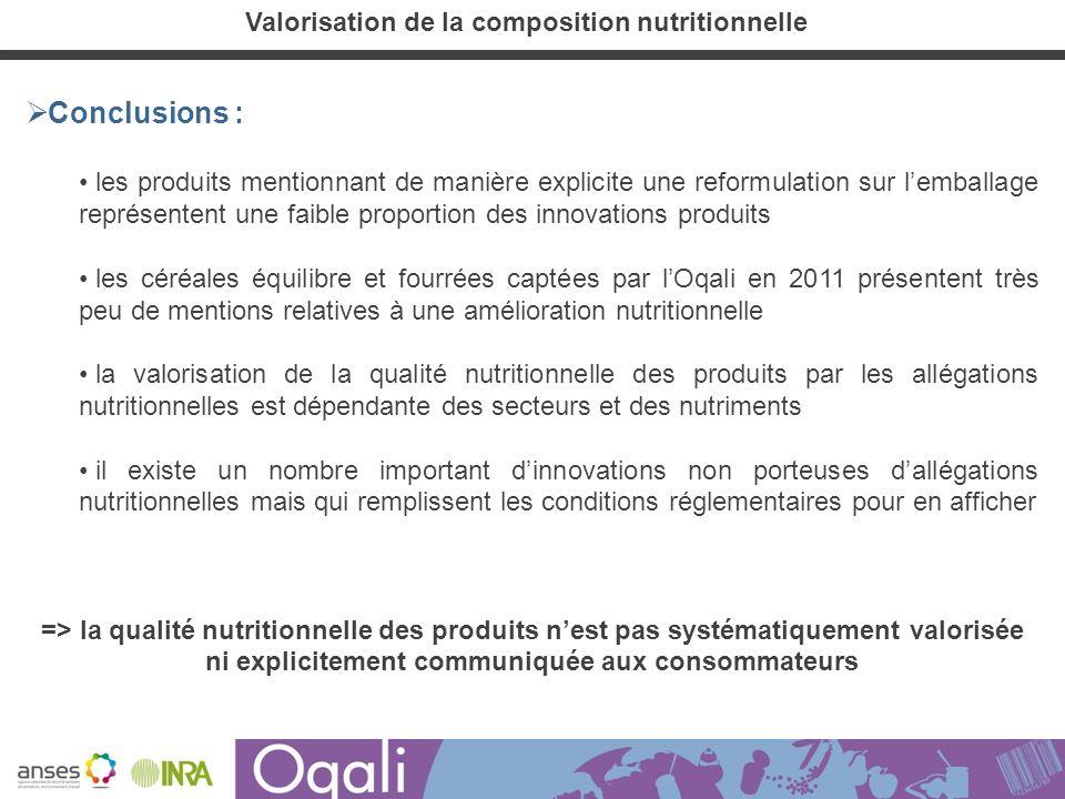 Valorisation de la composition nutritionnelle