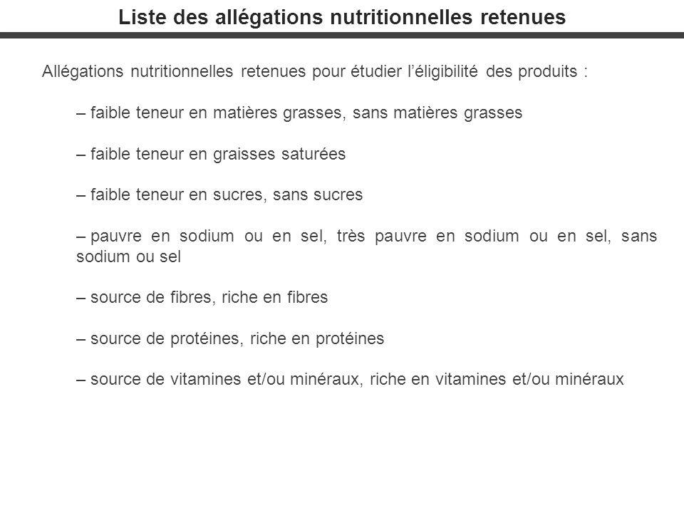 Liste des allégations nutritionnelles retenues