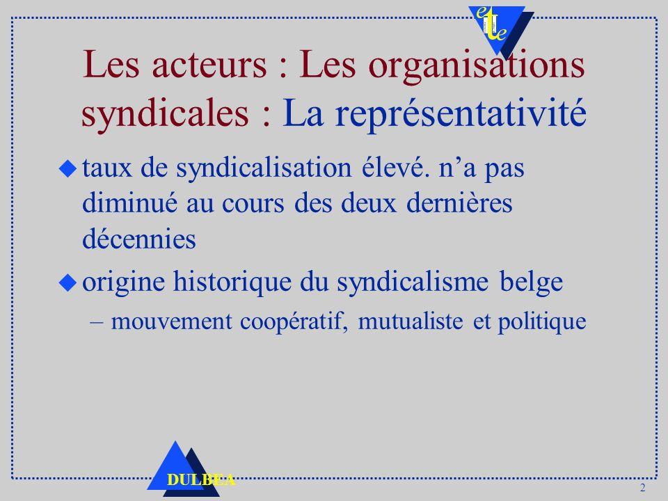 Les acteurs : Les organisations syndicales : La représentativité