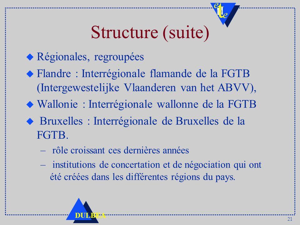 Structure (suite) Régionales, regroupées