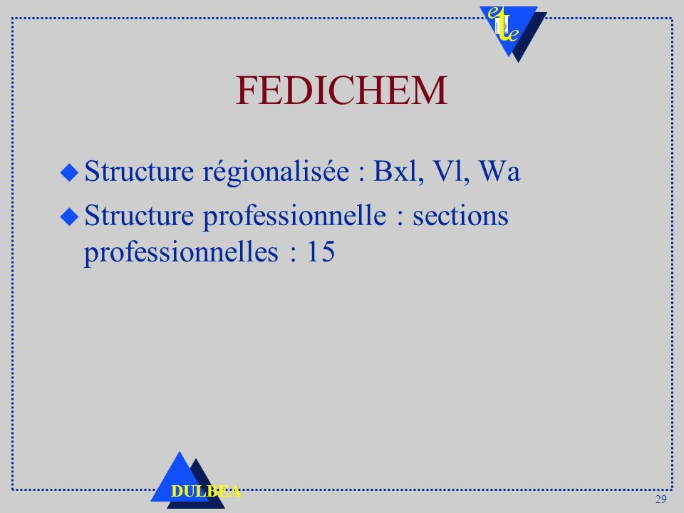 FEDICHEM Structure régionalisée : Bxl, Vl, Wa