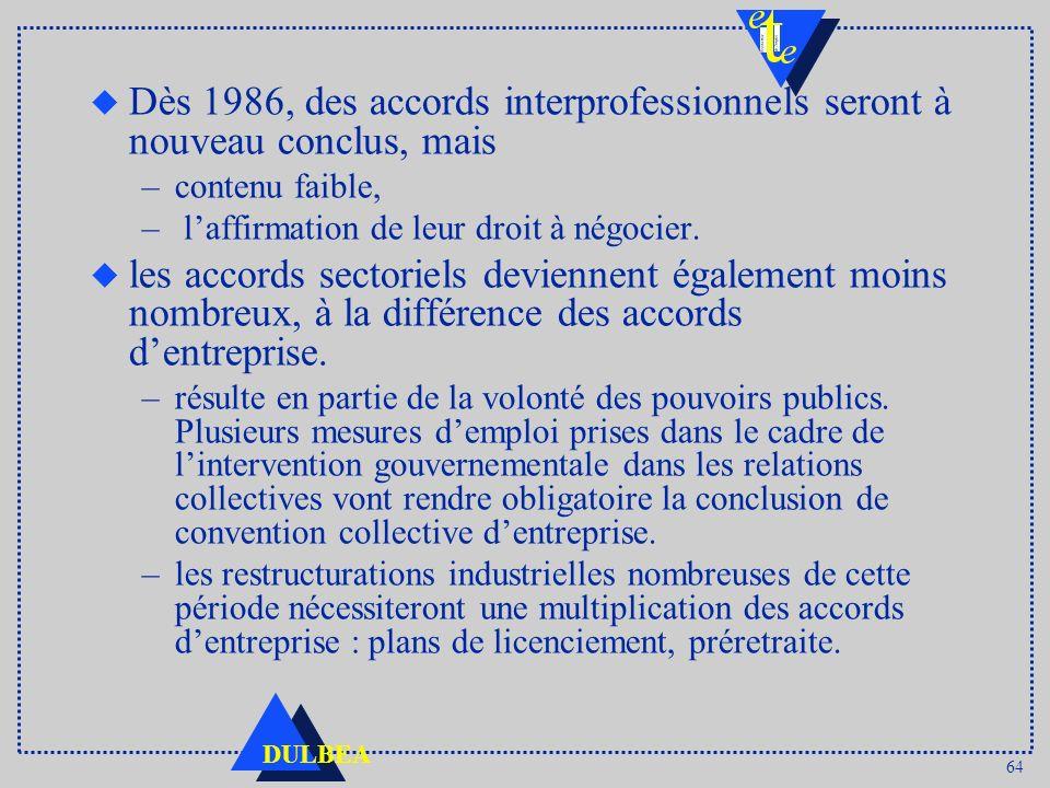 Dès 1986, des accords interprofessionnels seront à nouveau conclus, mais