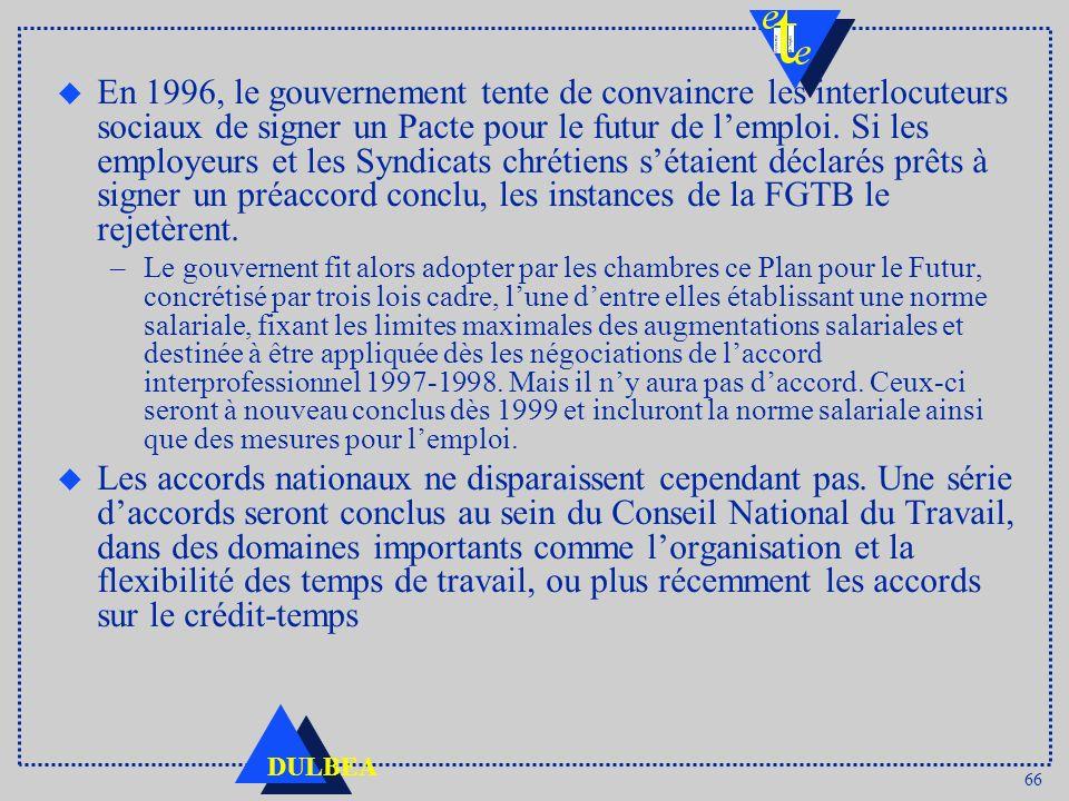 En 1996, le gouvernement tente de convaincre les interlocuteurs sociaux de signer un Pacte pour le futur de l'emploi. Si les employeurs et les Syndicats chrétiens s'étaient déclarés prêts à signer un préaccord conclu, les instances de la FGTB le rejetèrent.