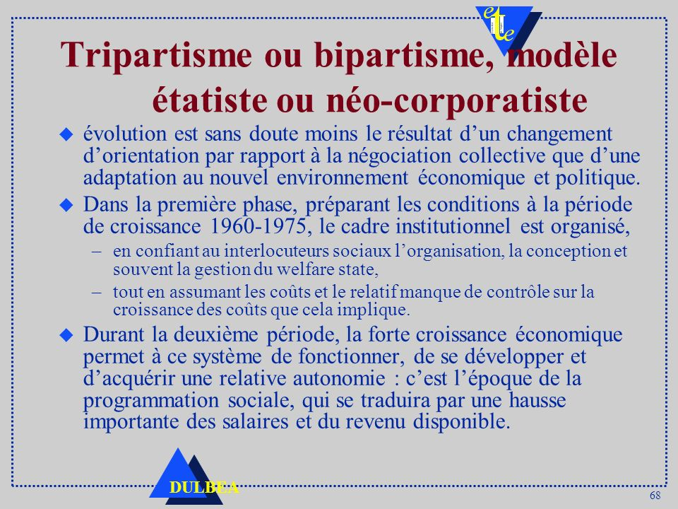Tripartisme ou bipartisme, modèle étatiste ou néo-corporatiste