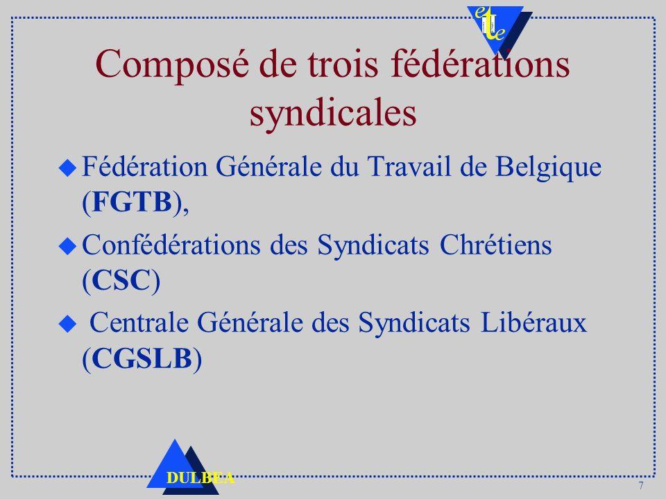 Composé de trois fédérations syndicales