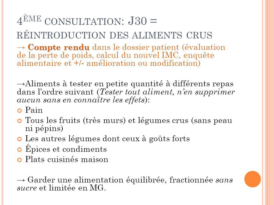 4ème consultation: J30 = réintroduction des aliments crus